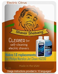 64 Philips Norelco Jet Clean HQ200 bottle equivalents with a FREE Shebang Bottle  Electric Citrus  4 Shaver Shebang cleaner solution >>> Want to know more, click on the image.