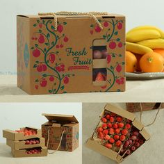 3pcs 27cm*20.5cm*18.5cm luxury kraft paper Fruit strawberry orange apple box gift packaging box,corrugated paper packing boxes