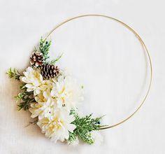 Winter Floral Wreath - flowers & greenery on gold hoop