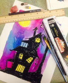 Art Teacher in LA | K-6th grade art lessons Sppoky Houses, Watercolor, oil pastel, Elementary Art, Middle School Art, Halloween Art, Fall Art, Www.ArtteacherinLA.com