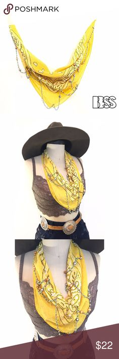 RHINESTONE COWGIRL VINTAGE EMBELLISHED BANDANA!! RHINESTONE COWGIRL VINTAGE EMBELLISHED BANDANA!!  Vintage bandana with string of faux pearls and beads sewn onto fabric! Sewn in certain spots to allow beading to move and you do! Great piece for summer! Vintage Accessories Scarves & Wraps
