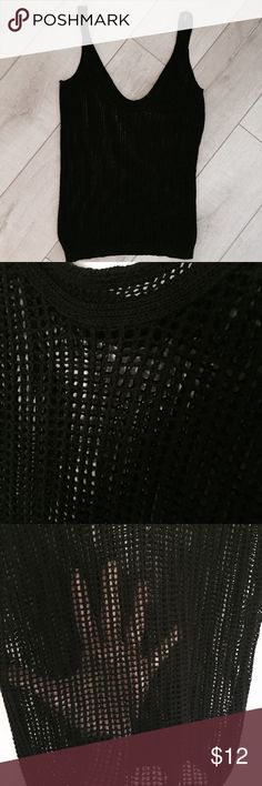 Stile Benetton Netted Tank Cute black tank top by United Colors of Benetton. Excellent used condition. Cute to wear over a bathing suit or out with a black tank top underneath. United Colors Of Benetton Tops Tank Tops