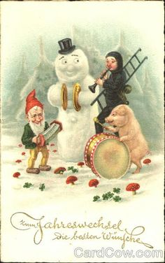 Vintage postcard -  Pigs,Snowmen, elves, chimney sweep.