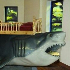 shark bed design this would be the ultimate for nico and his shark room! Shark Bedroom, Kids Bedroom, Bedroom Decor, Kids Rooms, Bedroom Ideas, Play Rooms, Bedroom Stuff, Bed Ideas, Bedroom Furniture