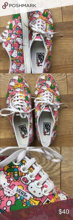 Limited Edition Hello Kitty Classic Vans Sneakers 💕✨Women's size 8 authentic Van's brand with a limited edition Hello Kitty canvas print. These were only tried on, never worn! Amazing condition! Willing to negotiate within fair reason. Please feel free to offer if interested! 💕✨ Vans Shoes Sneakers