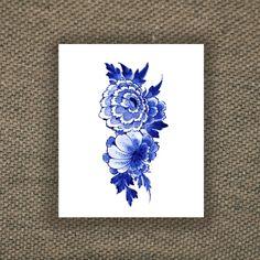 Vrac, Floral Dutch 'Delfts Blauw' temporary tattoo est une création orginale de Tattoorary sur DaWanda