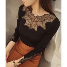 Sexy Round Neck Long Sleeve See-Through Slimming Women's Knitwear