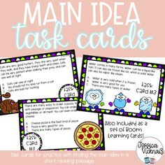 Finding the main idea can be a tricky concept for a lot of students! These are task cards are designed to help students practice finding the main idea using evidence from short texts. Each card has a short text and three multiple choice answers. Included: 14 task cards in 2 different sizes ... M Learning, Learning Cards, Middle School, High School, Main Idea, Special Education Teacher, Multiple Choice, New Fonts, Task Cards