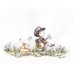 """""""The Great Chase"""" Daily Drawing painting - complete! I'll be getting more Daily Drawing paintings done and will have them and prints available in my Etsy store, so stay tuned! :) #mailman #puppy #chase #dailydrawing #watercolor #illustration #painting #art #angelasongart"""