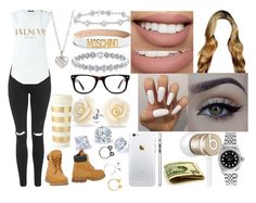 """""""Sessy"""" by aaliyahsalmon ❤ liked on Polyvore featuring Moschino, Beats by Dr. Dre, Kate Spade, Muse, Bling Jewelry, xO Design, Sephora Collection, Topshop, Balmain and Timberland"""