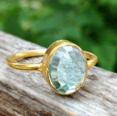 December Birthstone Ring, Blue topaz Ring, Stackable Ring, Gemstone Ring, birthday Gift, Christmas Gift, Bezel Ring, Sterling Silver, Dainty. $45.00, via Etsy.