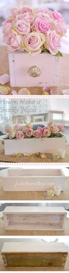 Shabby Chic Wood Trough Box
