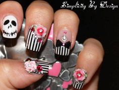 stripes skull embellished black white halloween nails
