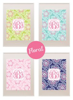 Free printable floral monograms - just download, type in your initials and print!
