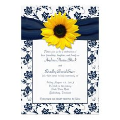 Midnight or marine navy blue and white floral damask with faux navy ribbon and yellow sunflower wedding invitation.