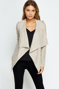 Suedette Asymmetric Jacket - 3 Colours - Just Cheap Clothes, Get The Look, Fashion Online, Duster Coat, Blazer, Casual, Model, How To Wear, Jackets