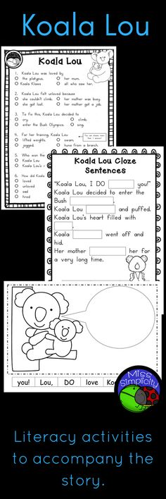 A week of literacy activities to accompany the book Koala Lou by Mem Fox. Perfect for Grade 1 and 2. (Aus years 1, 2 and 3).