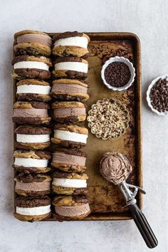 Brookie Ice Cream Sandwiches - Chocolate Cookies