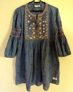 Odd Molly 606 Tunic Dress Embroided Size 3 L Blue Boho Hippie sleeve Odd Molly, Boho Hippie, Folk, Bell Sleeve Top, Tunic, Floral, Casual, Cotton, Blue