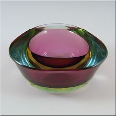 Murano Pink & Blue Cased Sommerso Glass Geode Bowl £34.99