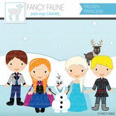 Frozen Snow Princess Cute Digital Clipart - Commercial Use OK - Disney, Olaf, Anna, Elsa, Queen, Snowman