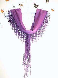 Purple Cotton Scarf Shawl Bandana Headband  Wedding by bestbazaar, $13.00
