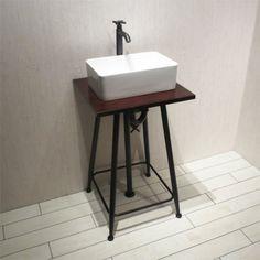 〔Eセット27〕INK-0501030Hset「陶器洗面ボウル+化粧台+デザインが選べる単水栓+プッシュ式排水栓+トラップ」の5点セット【本体サイズ:W600*D450*H800】