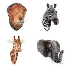 Lifelike Safari Animal Set - Cardboard Safari