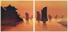 hanga gallery . . . torii gallery: Korean Junks at Sunset by Lilian Miller
