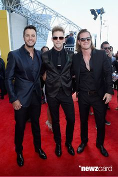 Host Luke Bryan and recording artists Brian Kelley and Tyler Hubbard of music group Florida Georgia Line attend the 50th Academy Of Country Music Awards at AT&T Stadium on April 19, 2015 in Arlington, Texas.