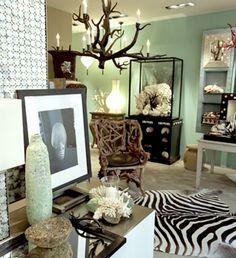 Black. White. Gold. Spearmint green. Zebra. Branch chandelier.