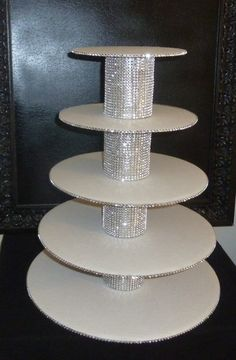 5 tier bling faux rhinestone white cupcake stand tower wedding cake pop display holder candy buffet dessert bar table disassembled DIY