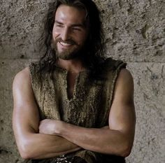 """""""Jesus Christ"""" the carpenter (a movie scene with his mother Maria). JC was portrayed by JC. :-)) the actor is Jim Caviezel."""