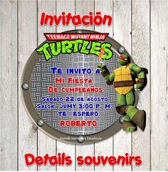 invitación tortugas ninja diseño y creación de invitaciones  DETAILS SOUVENIRS FACEBOO