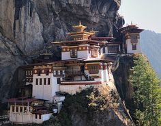 Taktsang Monastery, Bhutan. a.k.a the Tiger's Nest Monastery, which someone was either crazy or awesome enough to build near the end of the 17th century on a cliff 2,300 feet above the bottom of the Paro valley, located several hours outside of Paro, Bhutan.
