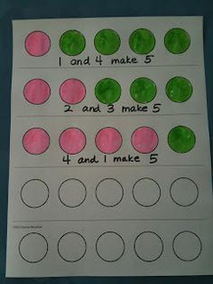 This is a visual math manipulative that allows students to see the numbers that add up to a given sum. They can color or stamp in the circles to show that the parts of the whole are different.