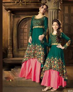 Kids party wear dresses - Green Mother And Daughter Anarkali Mom Daughter Matching Outfits, Mommy Daughter Dresses, Mother Daughter Fashion, Mom Dress, Mother Daughters, Kids Party Wear Dresses, Dresses Kids Girl, Baby Dresses, Dresses Dresses