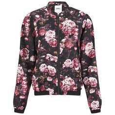 ONLY Women's Rayne Floral Bomber Jacket featuring polyvore, fashion, clothing, outerwear, jackets, tops, black, biker jacket, flower print jacket, black flight jacket, black jacket and blouson jacket