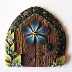 Blue Flower Fairy Door Pixie Portal by Claybykim on Etsy