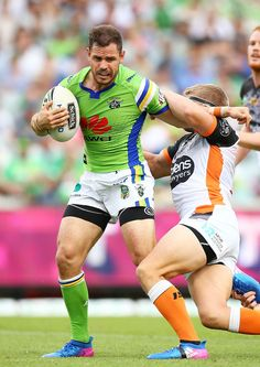 Aidan Sezer of the Raiders in action during the round three NRL match between the Canberra Raiders and the Wests Tigers at GIO Stadium on March 19, 2017 in Canberra, Australia.