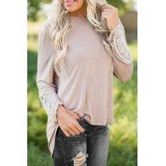 trendsgal.com - Trendsgal Round Neck Long Sleeve Lace Patchwork Hollow Back T Shirt - AdoreWe.com