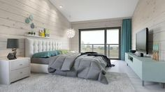 Love this #ModernBedroom that gives a feeling of calmness. Featured with a grey cover and blue/teal accent pieces such as pillows, dresser and curtains    KUKUN