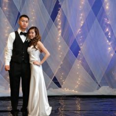 Unique Prom Party Decoration Ideas - How To Decorate A Prom Party - criss-cross gossamer fabric in front of lights