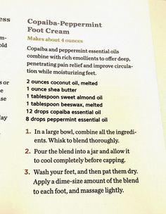 Copaiba peppermint foot cream