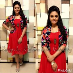 sreemukhi in our rekha s by kirthanasunil designs for show. Frock Fashion, Fashion Dresses, Casual Frocks, Kalamkari Dresses, Frocks And Gowns, Indian Fashion Trends, Ethnic Fashion, Frock For Women, Churidar Designs
