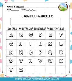 CUADERNILLO: Practico mi nombre (especial para niños de primaria) Daily Five, Spanish Alphabet, First Grade, Games For Kids, Worksheets, Periodic Table, Acting, Homeschool, Classroom
