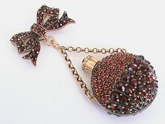 Victorian Garnet Scent Bottle on Brooch Antique Brooches, Antique Jewelry, Vintage Jewelry, Garnet Jewelry, Antique Perfume Bottles, Beautiful Perfume, Rhinestone Jewelry, Jewelry Armoire, Vintage Costume Jewelry