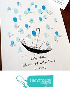 Baby Shower Umbrella with Thumbprint Raindrops, Guest book fingerprint alternative art (with 1 ink pad & 1 pen) from Bleu De Toi http://www.amazon.com/dp/B01CFK28SE/ref=hnd_sw_r_pi_dp_yuE3wb1JKC9SN #handmadeatamazon