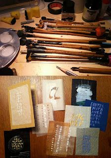 Review (in german language) of of a calligraphy weekend workshop about unusual calligraphy tools with teacher Brigitte Schrader. November 2011.