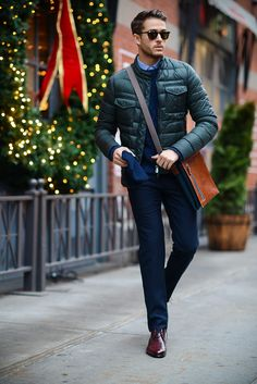 Peuterey jacket   Sandro Paris trousers   Paul Evans shoes   Outfit details at http://iamgalla.com/2014/12/evergreen/